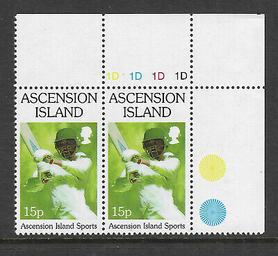 ASCENSION 1998 SPORTS CRICKET Single Value Top Right Pair MNH