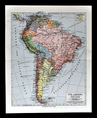 1900 Meyers Map South America Brazil Argentina Colombia Peru Chile Bolivia SA