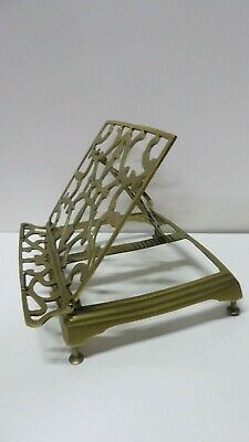 Vintage Ornate Brass Folding Table Top Easle Book Stand