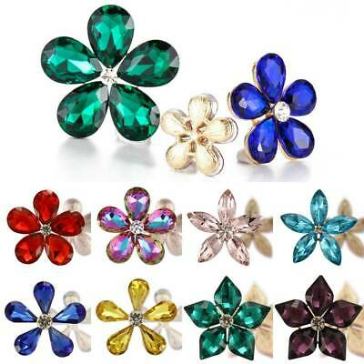 2pcs Crystal Rhinestones Metal Flowers Embellishments Appliques Sewing Patches