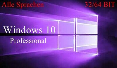 Microsoft Windows 10 Pro Professional 32 / 64 Bit Vollversion Product Key Email