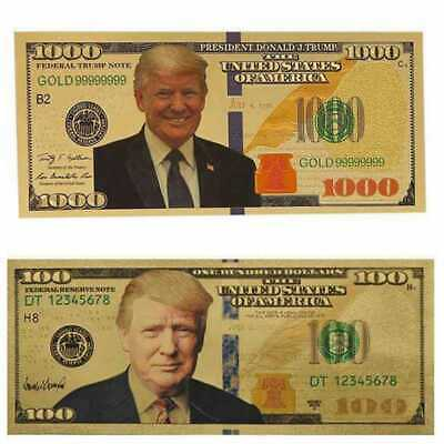 2pc $1000 and $100 US Donald Trump Commemorative President Banknote Non-currency