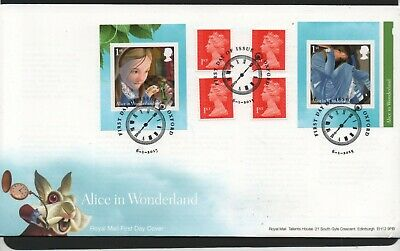 GB 2015 FDC Alice In Wonderland self adhes booklet stamps Oxford postmark stamps