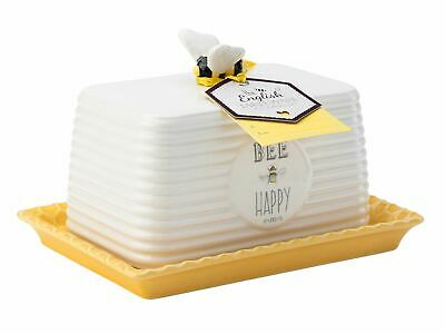 English Tableware Company Bee Happy Butter Dish Cloche with Bee Handle
