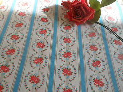 Antique Floral Roses Stripe Ribbon Bow Light Cotton Fabric ~ Rose Pink Teal Blue