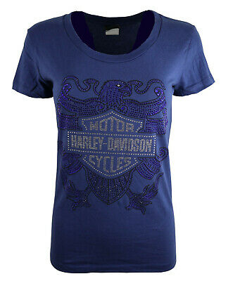 Ladies Girls Ex Harley Davidson New Glittery Eagle Cotton Party Tops T Shirts 16