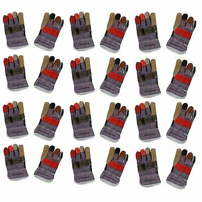 "12 Pairs 10"" Large Rainbow Hide Furniture Gloves Work Wear Safety Gardening"