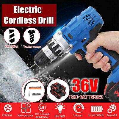 36V Electric Cordless Drill Screwdriver LED 2-Speed & 2 Li-Ion Battery Tool Set
