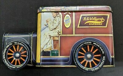 D.E.Wolfgang's Candies Tin Truck Novelty Canister Coin Bank