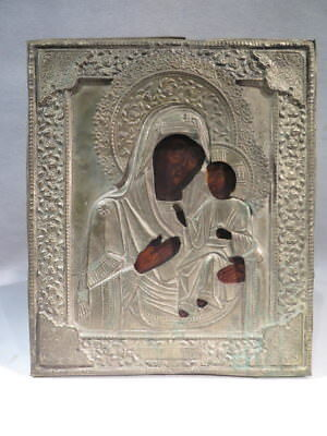 Antique Icon Painted Virgin a the CHILD on Panel Enhanced Gold Russian Orthodox