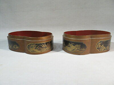 Antique Suite Two Boxes Lacquer Gold Red Extreme Orient Japan Landscapes