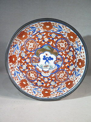 Antique Dish Porcelain Decorated with Imari Circle Solid Silver Pearl Flowers