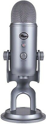 NEW Blue Yeti Cool Grey USB Microphone with Stand 4-Pattern streaming podcasting