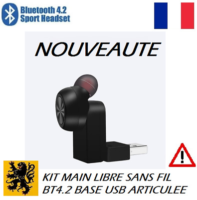 Écouteur Sans Fil Bluetooth 4.2 USB 5V Rechargeable Kit Main Libre Kit piéton XY