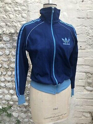 Vintage Adidas Track Suit Top Blue X Small 6 8 Retro Zip Up Sweat shirt 70s 80s
