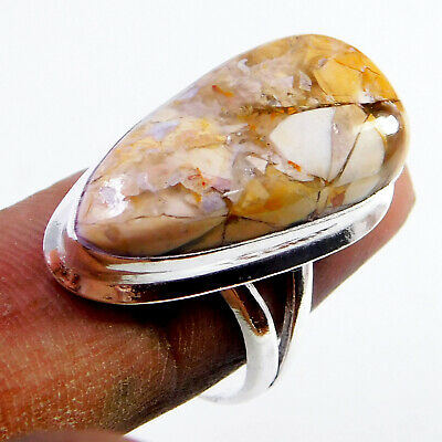 Brecciated Mookaite 925 Sterling Silver Plated Handmade Jewellery Ring UK Size-R