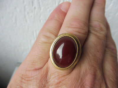 Very Beautiful, Old, Big Ring __925 Silver with Red Brown Stone __