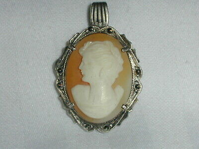 Antique 800 Silver Hand Carved Shell Cameo Pendant W/ Marcasites!