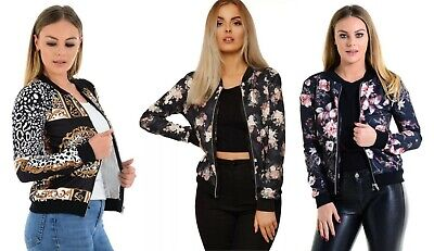 Womens Baroque Chain Floral Print Long Sleeve Zipped Bomber Jacket Top UK 8-22