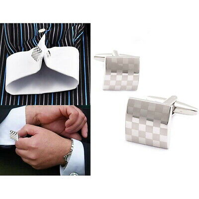 1/2 Pair Mens Stainless Steel Business Shirt Silver Square Lattice Wed CUFFLINKS