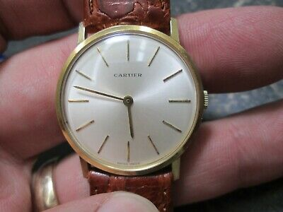 CARTIER TRIPLE SIGNED 18K GOLD MENS DRESS Running Wristwatch