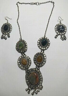 Vintage Necklace Two Earrings Beautiful Brass Silver Plated Handmade Old Stones
