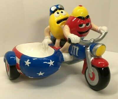 Red & Yellow M&M's on a Motorcycle w/ Sidecar Ceramic Candy Dish By Galerie 2002