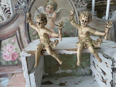 OMG PAIR Old Antique French Cast Iron Metal CHERUBS ANGELS Original Creamy WHITE