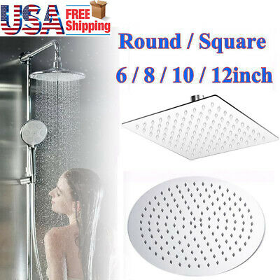 6in-12in Stainless Steel Rain Shower Head Round Square Rainfall Bathroom Sprayer