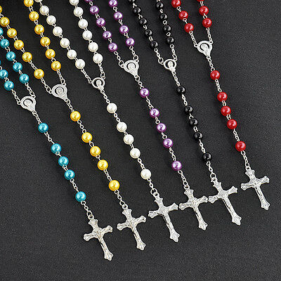 Catholic Jesus Cross Crucifix Pendant Necklace Stainless Steel Rosary Bead Chain