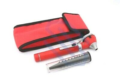 Mini Otoscope Fiber Optic Medical Diagnostic Examination Pocket Size Set Red