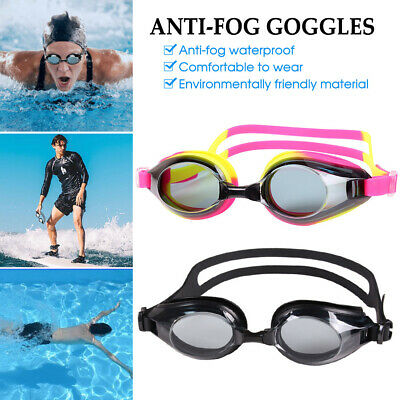 Waterproof and Anti-fog Swimming Goggles Silicone Comfortable Adjustable *AU