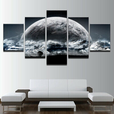 Sci Fi Planet Rise Sky Space 5 panel canvas Wall Art Home Decor Print Poster
