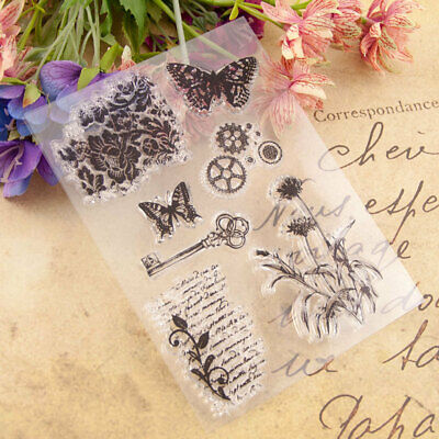 Butterfly Key Silicone Clear Stamp Transparent Rubber Stamps DIY Scrapbooking