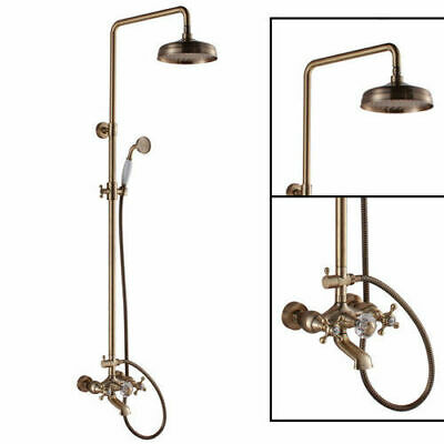 Old World Style Rain Shower Double Cross Handle Solid Brass  Tub Spout System
