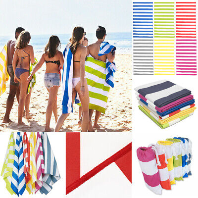 Striped Extra Large Beach Towel Microfibre Lightweight ❤Speed Dry❤Travel Towel