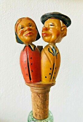 Vintage Anri Mechanical Wooden Carved Kissing Couple Bottle Stopper