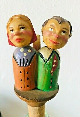 Vintage Anri Mechanical  Carved Wooden Kissing Couple Bottle Stopper