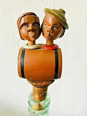 Vintage Anri Mechanical Wooden Kissing Couple Sitting On A Keg Bottle Stopper
