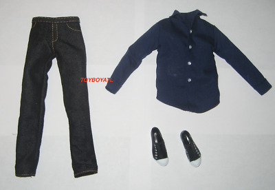 Barbie Ken Doll Outfit Jeans Dark Blue Shirt Shoes Fits Basics Model Muse Body