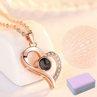 925 Silver Projection I LOVE YOU 100 Languages Pendant Necklace Memory of LOVEVN