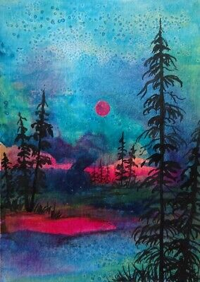 The Day Becomes Night - Original Aceo  Acrylic Painting  Signed Canvas Card