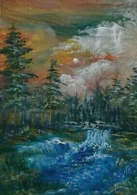 Waterfall  - Original Art 100% Hand Painted Aceo Acrylic Nature Painting