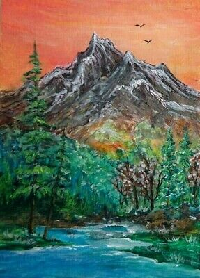 Mountains Landscape - Original 100% Hand Painted Aceo Acrylic Painting Art Card