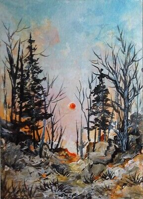 Sunrise - Original Hand Painted Acrylic Landscape Signed Aceo Art Card
