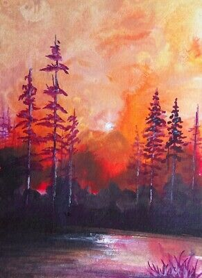Original 100% Handpainted Aceo Watercolor  Acrylic Landscape Painting Signed Art