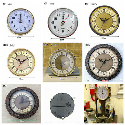 Clock Quartz Mechanism Arabic Numeral White Face Silver Trim DIY Parts Practical
