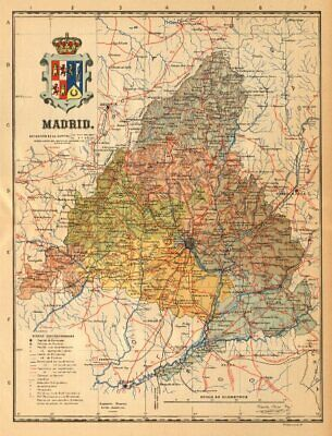 MADRID. Mapa antiguo de la provincia. ALBERTO MARTIN c1911 old antique