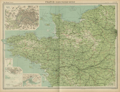 North-western France. Brittany Normandy Loire valley. THE TIMES 1922 old map