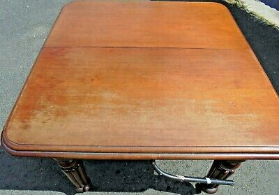 Old Antique Victorian Extending Mahogany Seats 4/6 + Leaf Frendly 8 Dining Table